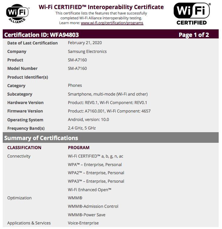 samsung galaxy a71 wifi certification