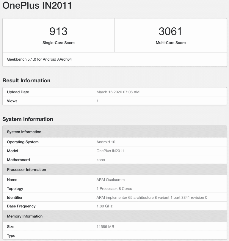 OnePlus IN2011 Geekbench