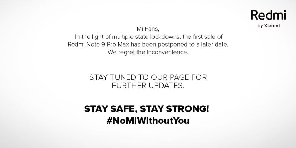 Redmi Note 9 Pro first sale postponed in India due to state lockdowns in the light of COVID-19