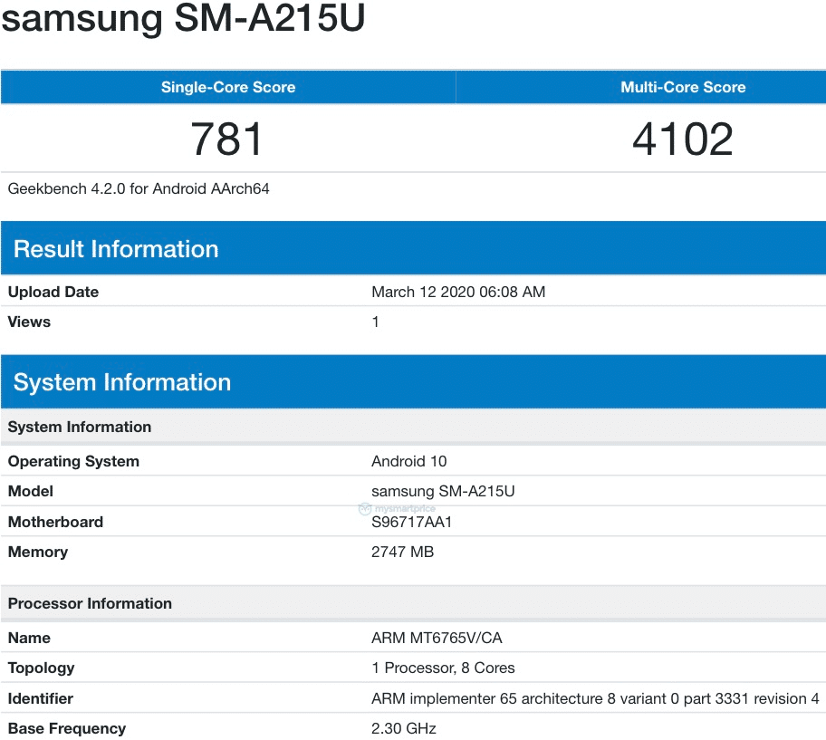 Samsung galaxy a21 geekbench