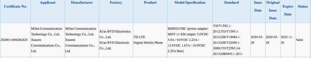 Xiaomi M2003J15SC listing on 3C