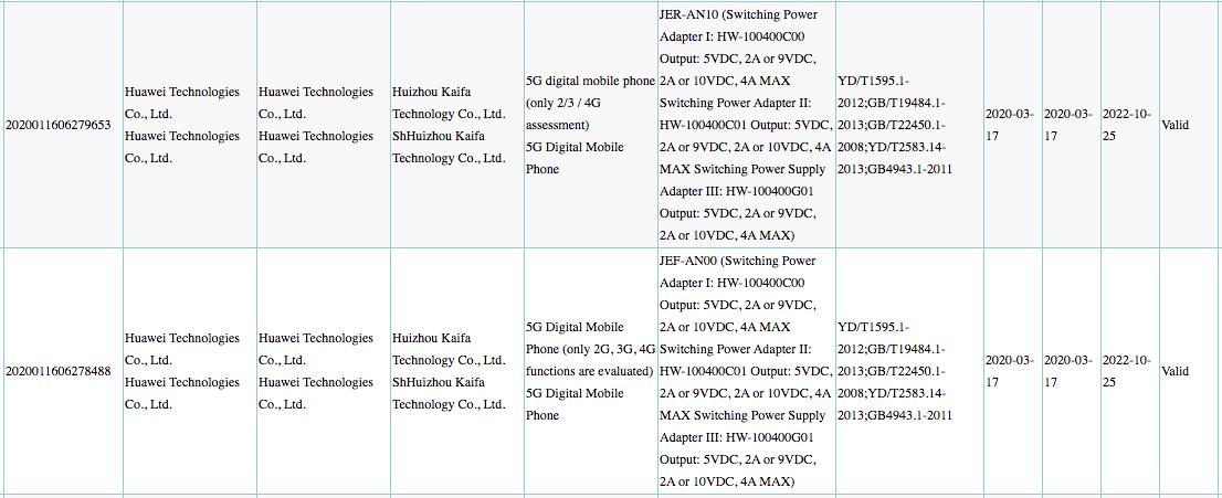 Huawei Nova 7 series smartphones 40W charging