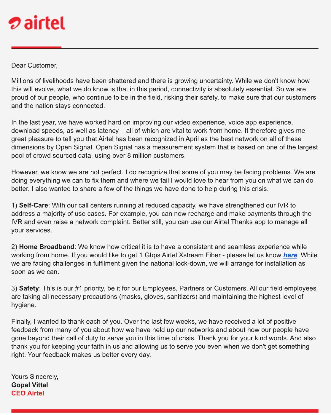 Airtel CEO Message