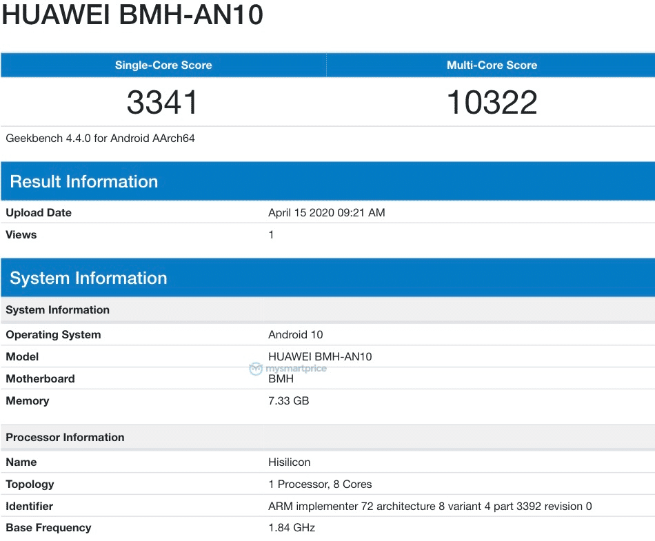 Huawei Nova 7 (BMH-AN10) spotted on Geekbench