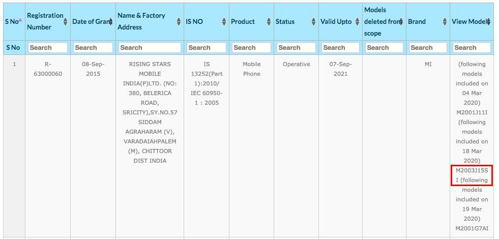 Xiaomi Redmi Note 9 (M2003J15SI) spotted on BIS