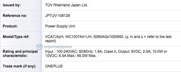 OnePlus 65W Charger TUV Rheinland
