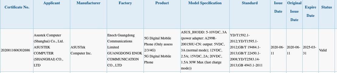 Asus ROG Phone 3 (ASUS_I003DD) 3C