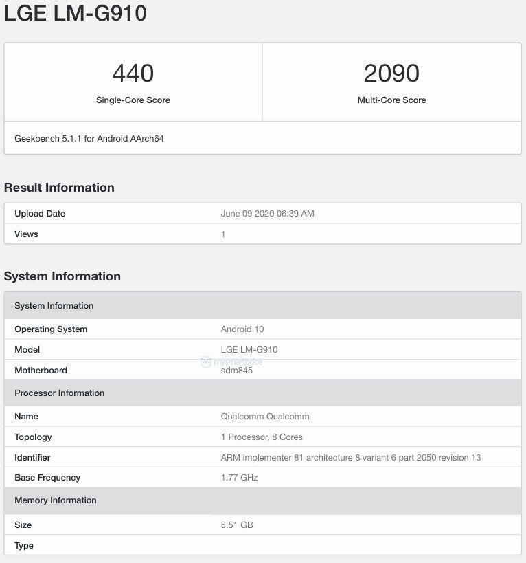 LG Velvet 4G (LM-G910) Geekbench