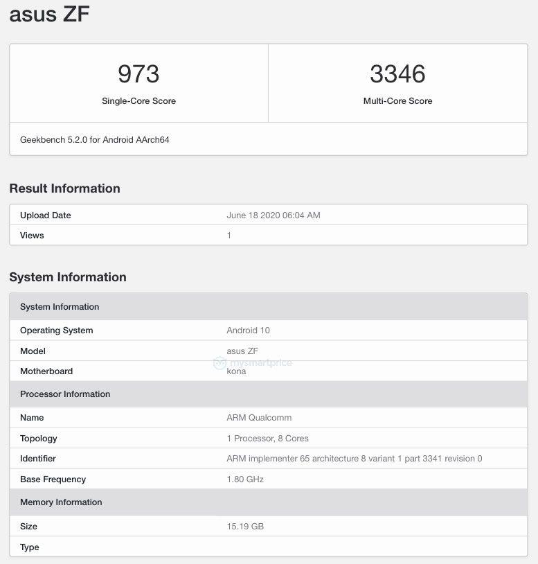 Possible Zenfone 7 Geekbench