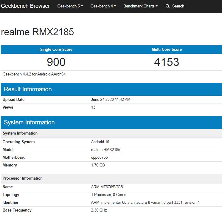 Realme C11 (RMX2185) Geekbench