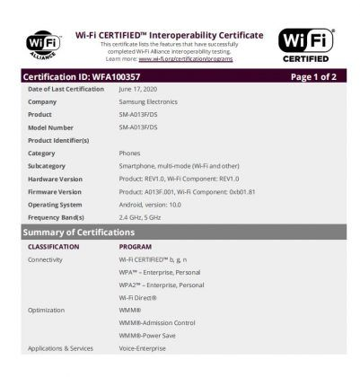 Samsung Galaxy A01 Core Wi-Fi Alliance certification