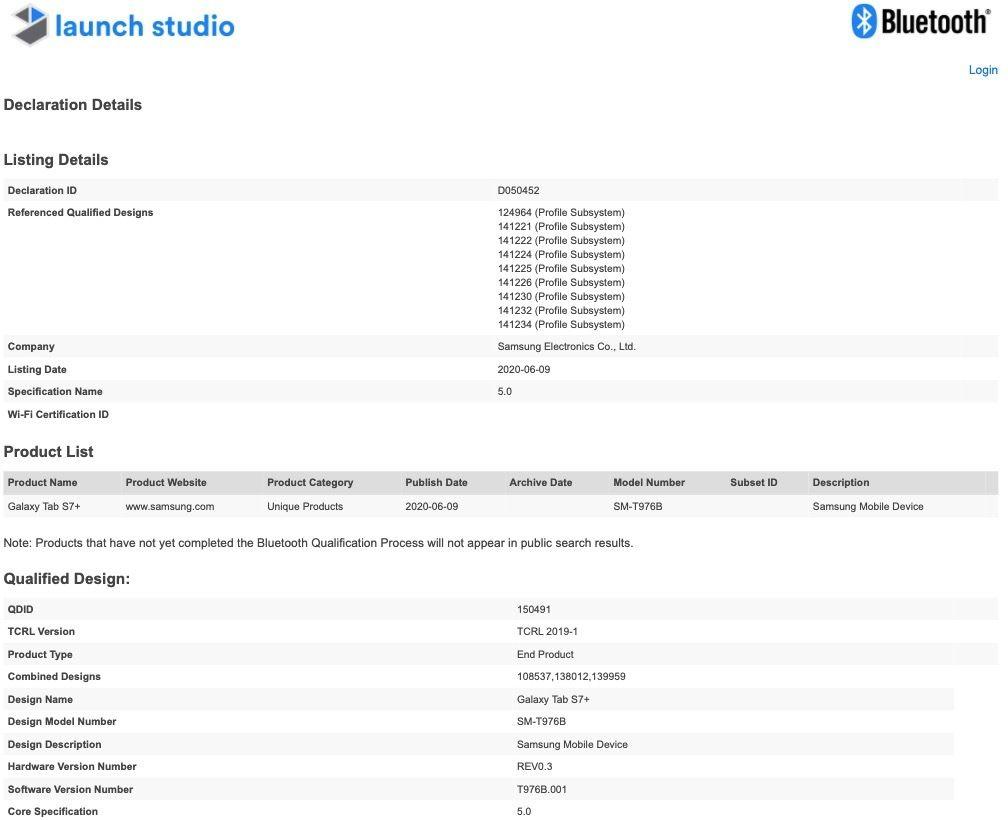 Samsung Galaxy Tab S7+ (SM-T976B) Bluetooth SIG