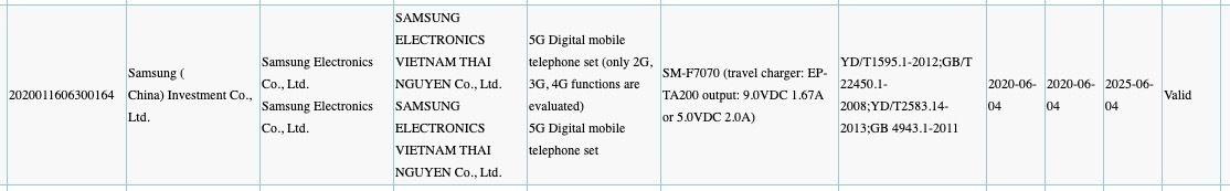 Samsung SM-F7070 3C