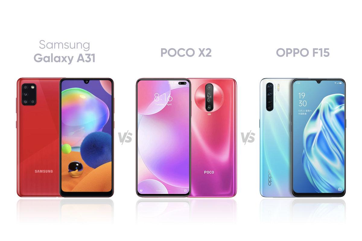 Samsung Galaxy A31 Vs Poco X2 Vs Oppo F15 Price In India