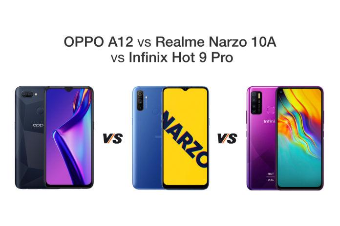 OPPO A12 vs Realme Narzo 10A vs Infinix Hot 9 Pro