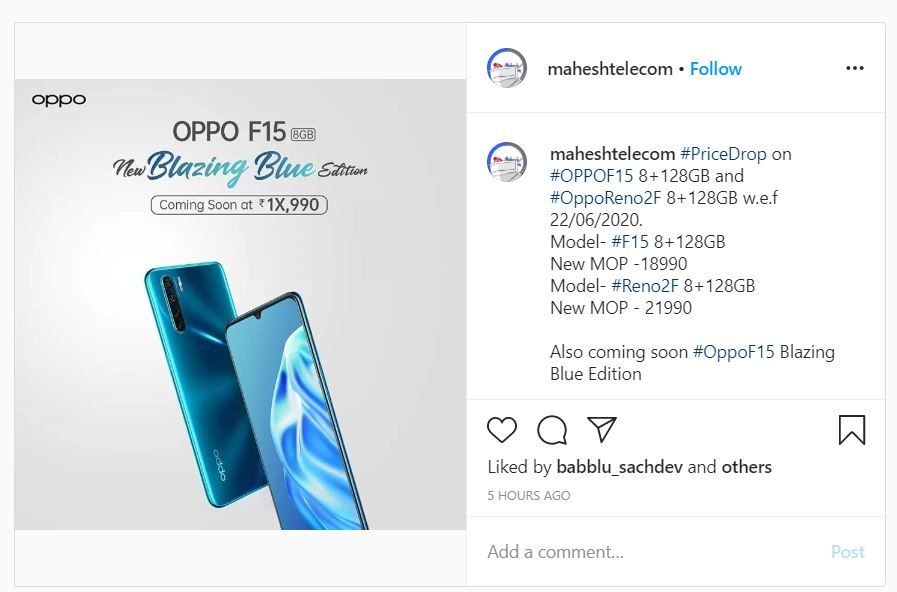 oppo f15 blazing blue color variant