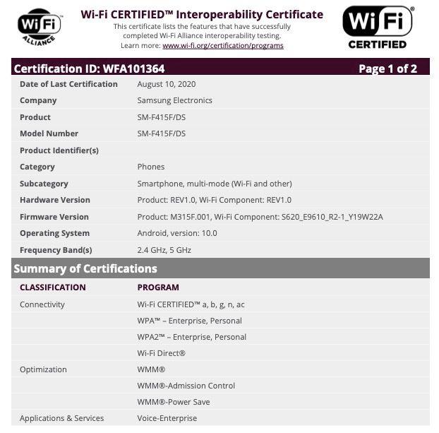 Samsung Budget Foldable Phone (SM-F415F_DS) Wi-Fi