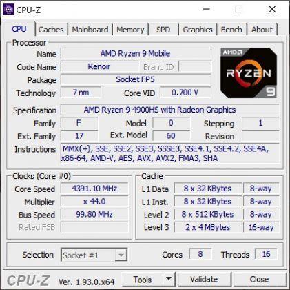 ASUS ROG Zephyrus G14 screenshot 06 (CPUZ specifications)