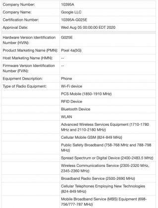 Google Pixel 4a 5G Canada Certification