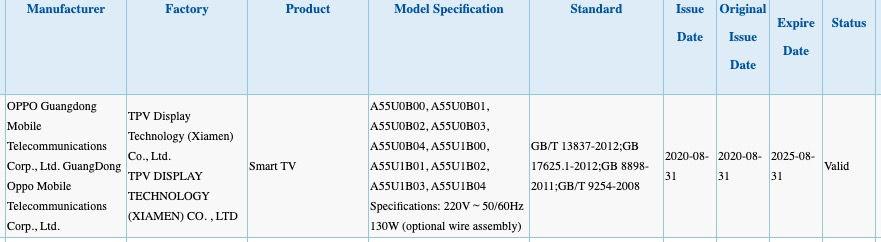 OPPO Smart TV 3C certification