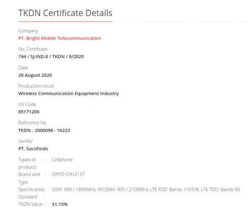 Oppo A33 (CPH2137) Indonesia TKDN
