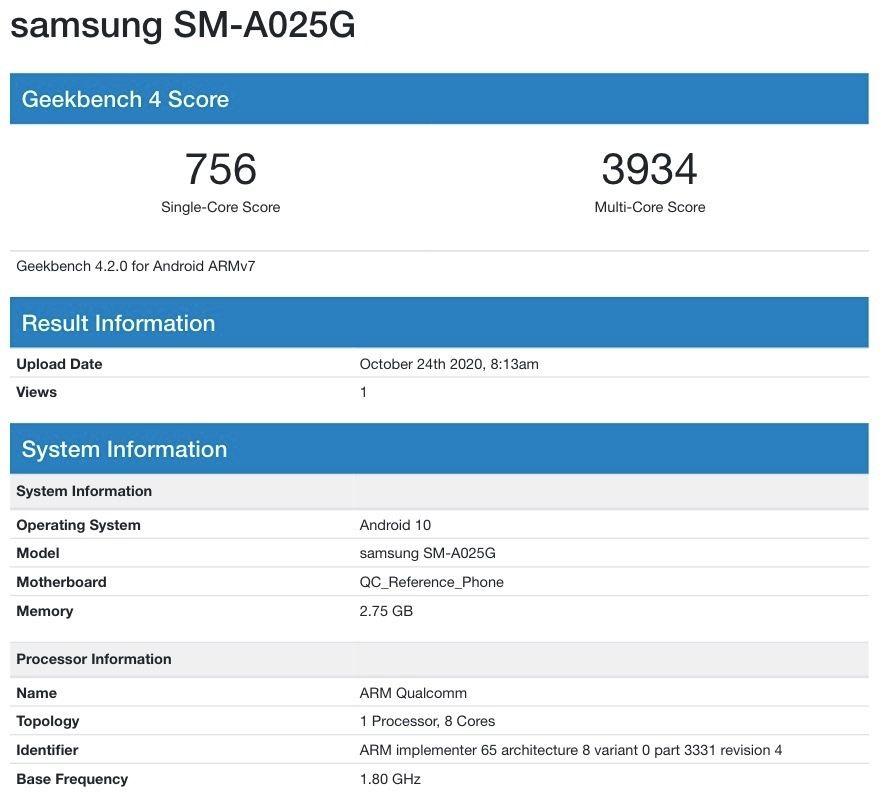 Galaxy A02s (SM-A025G) 3GB Variant Geekbench
