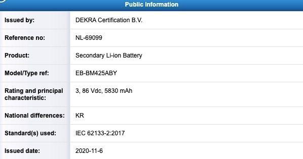 Galaxy M42 Battery (EB-BM425ABY) DEKRA