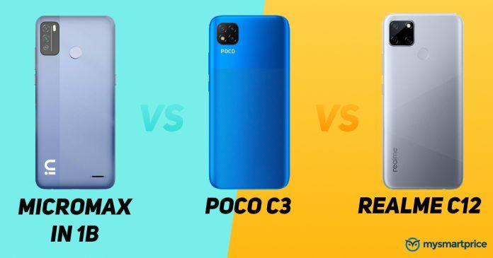 Micromax In 1b vs POCO C3 vs Realme C12