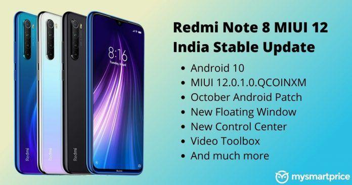 Redmi Note 8 MIUI 12 India