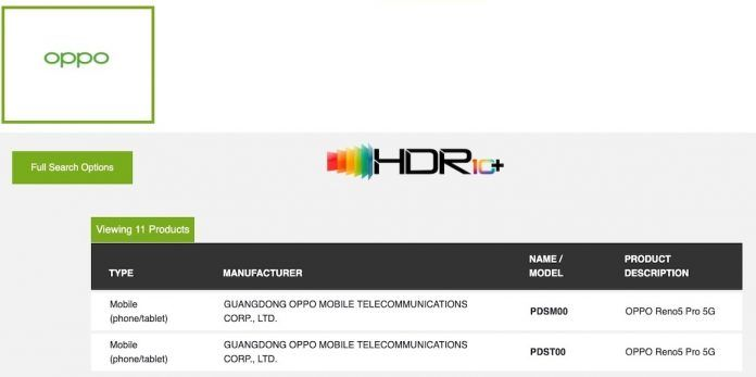 OPPO Reno 5 Pro 5G certificação HDR 10+