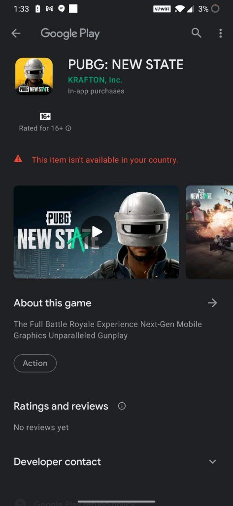 PUBG New State Won't be available in India