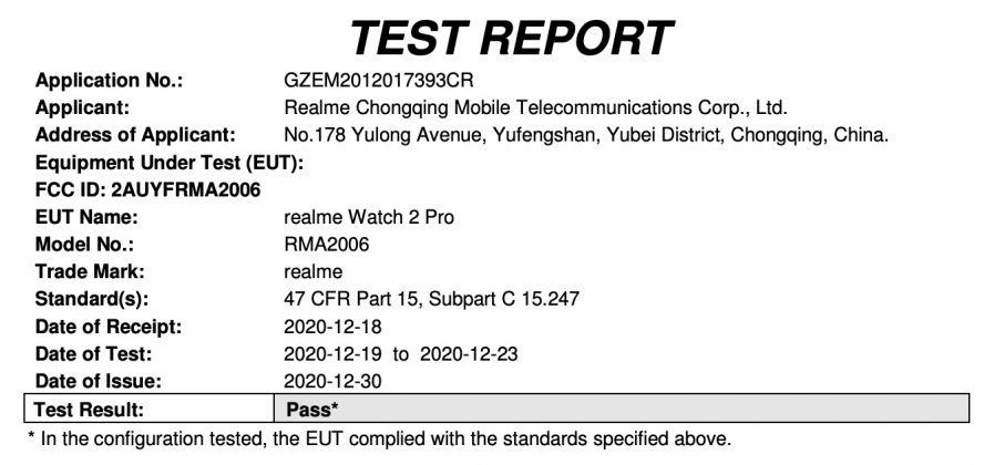 Realme Watch 2 Fcc filing