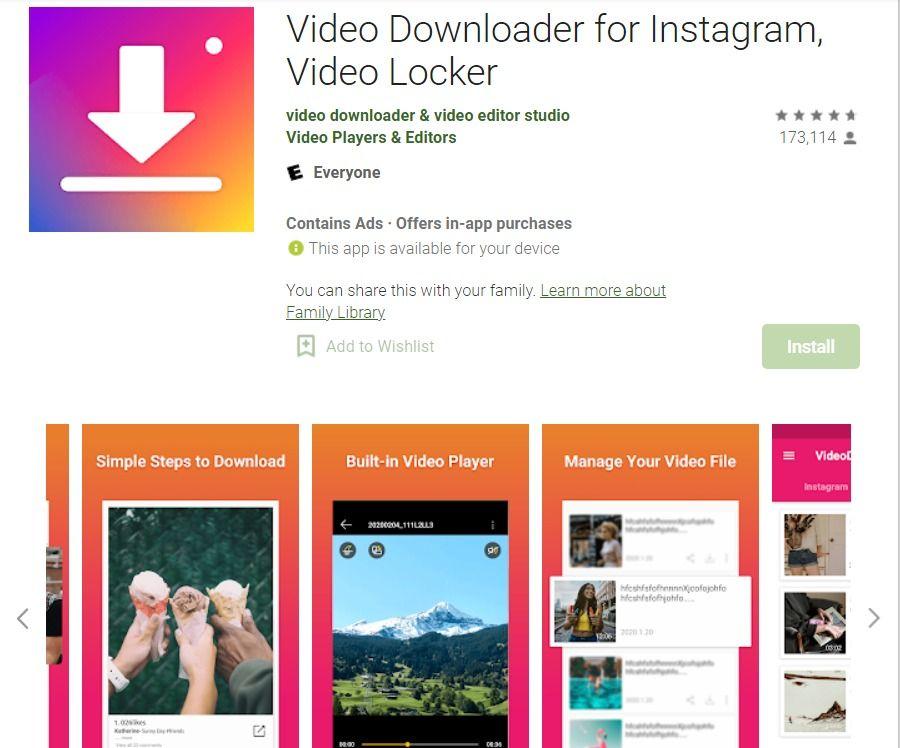 Instagram video-downloader op Android