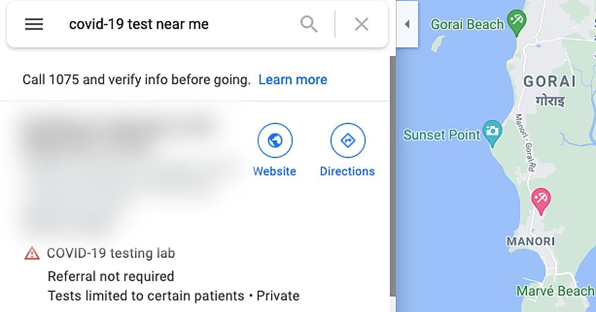 Google Maps Covid results