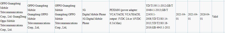 OPPO PEXM00 3C