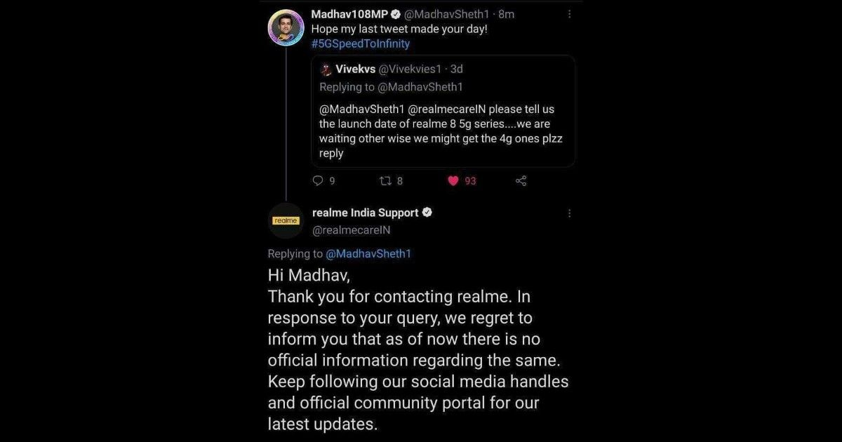 Realme 8 5G Madhav Sheth Twitter bot