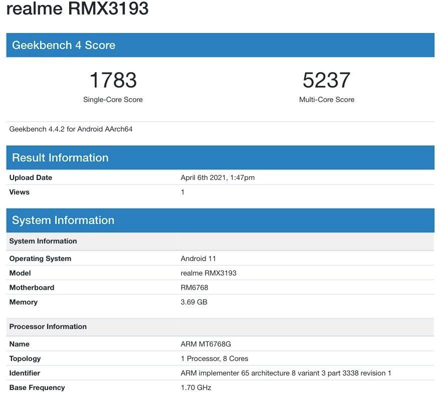 Realme C25 Geekbench