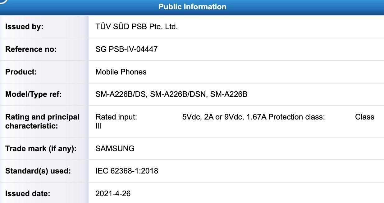Galaxy A22 5G TUV SUD