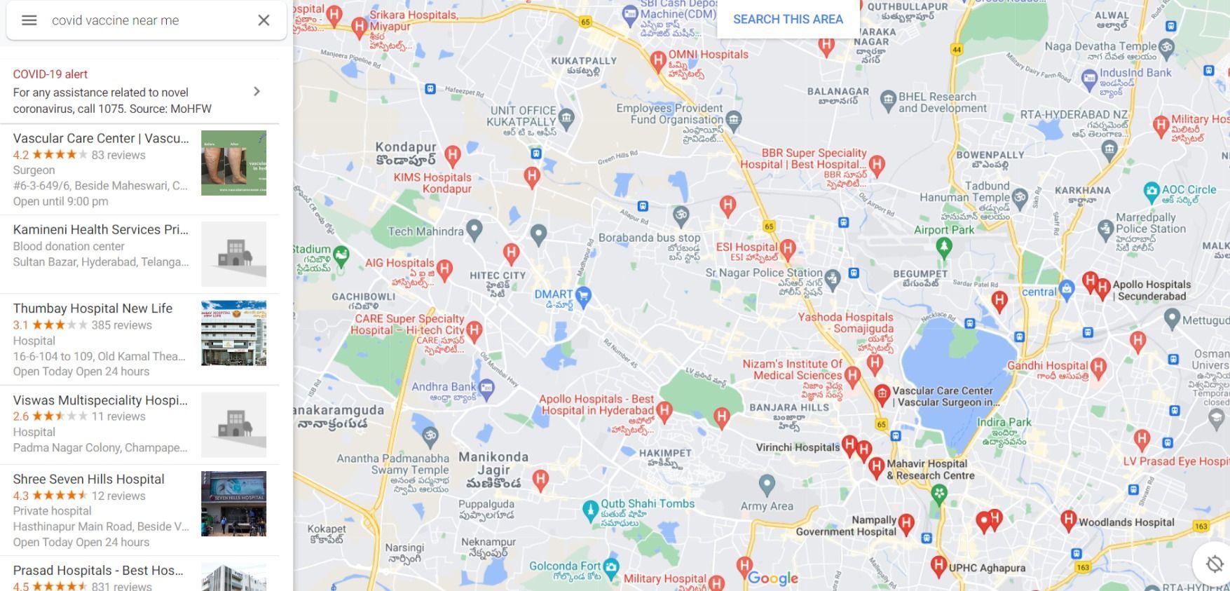 vaccine centre near me google maps