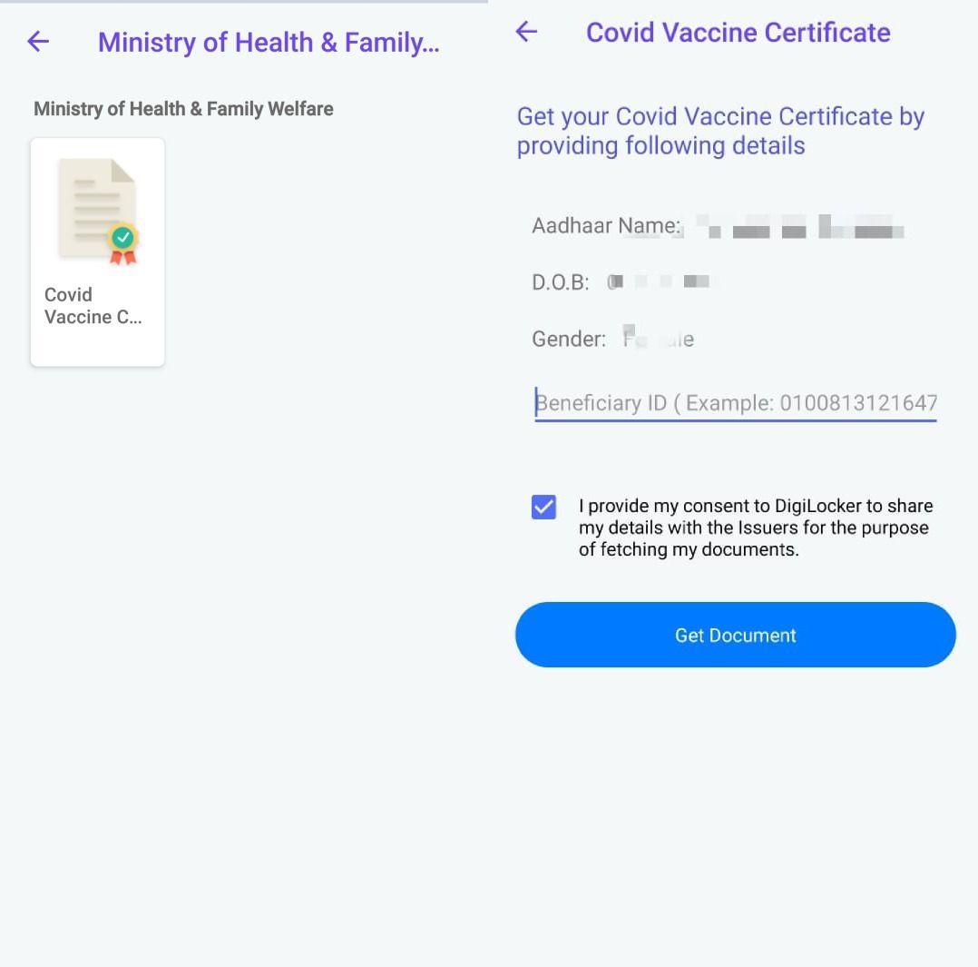 vaccine certificate digilocker