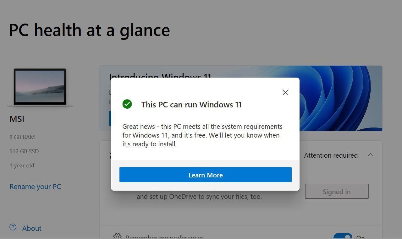 Windows 11 The PC Health Check App