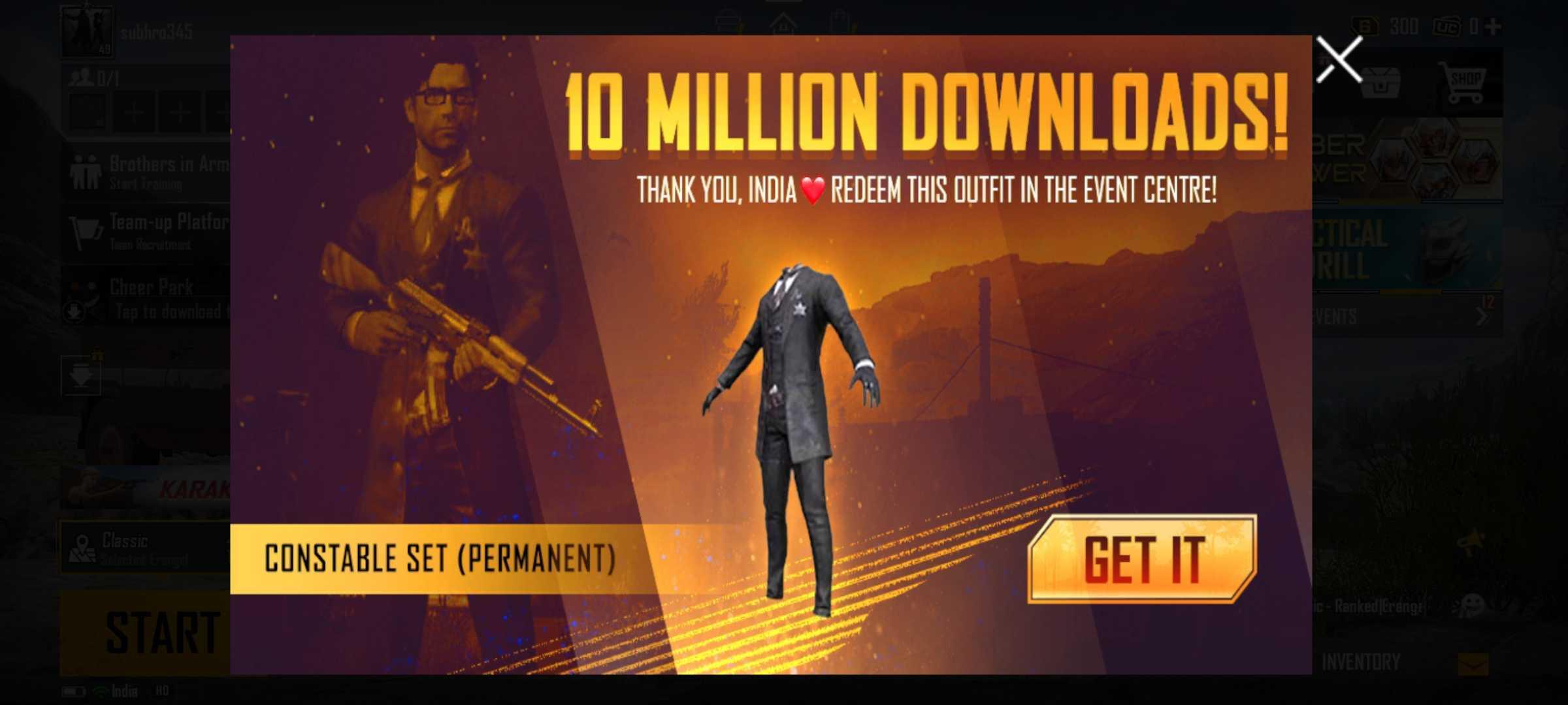 BGMI 10m reward