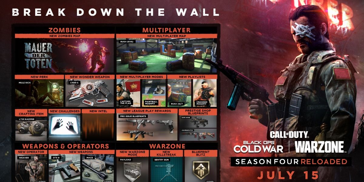 Call of Duty Black Ops Cold War and Warzone Season 4 Reloaded Launching July 15; New Game Modes, Weapons, and More