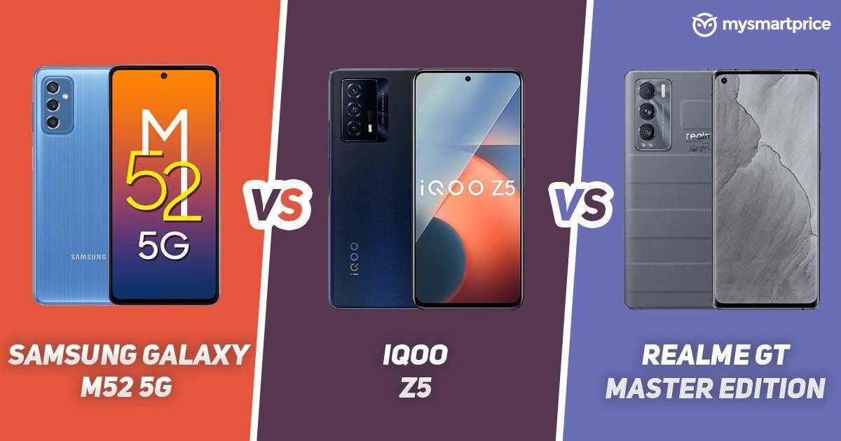 Samsung Galaxy M52 5G vs iQOO Z5 vs Realme GT Master Edition