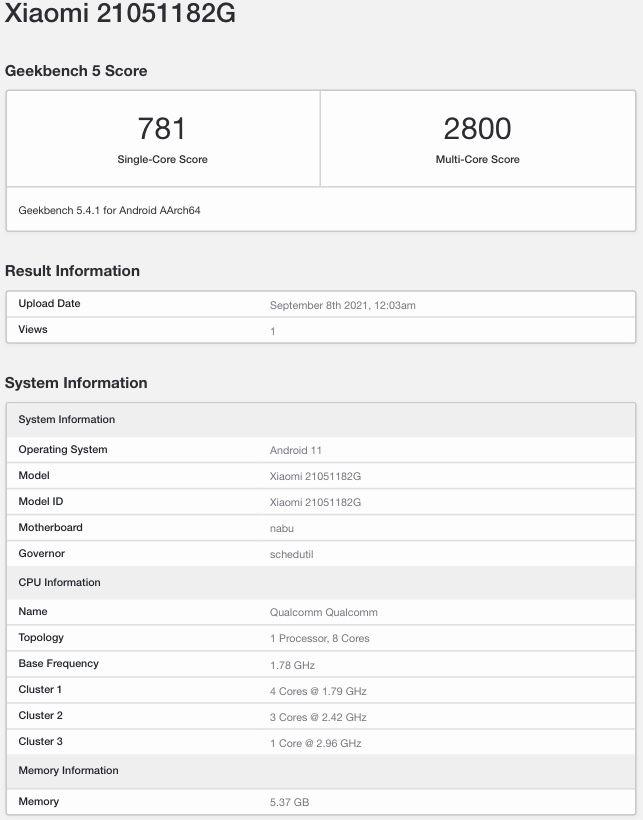 Xiaomi Pad 5 lançamento global Geekbench
