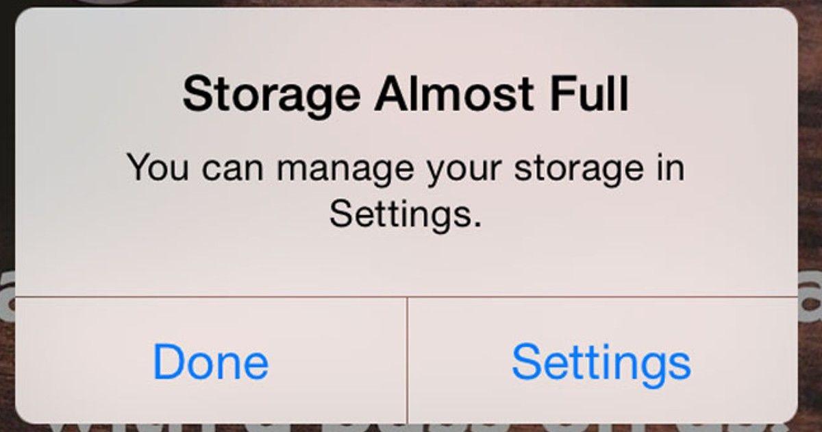 iOS 15 storage warning