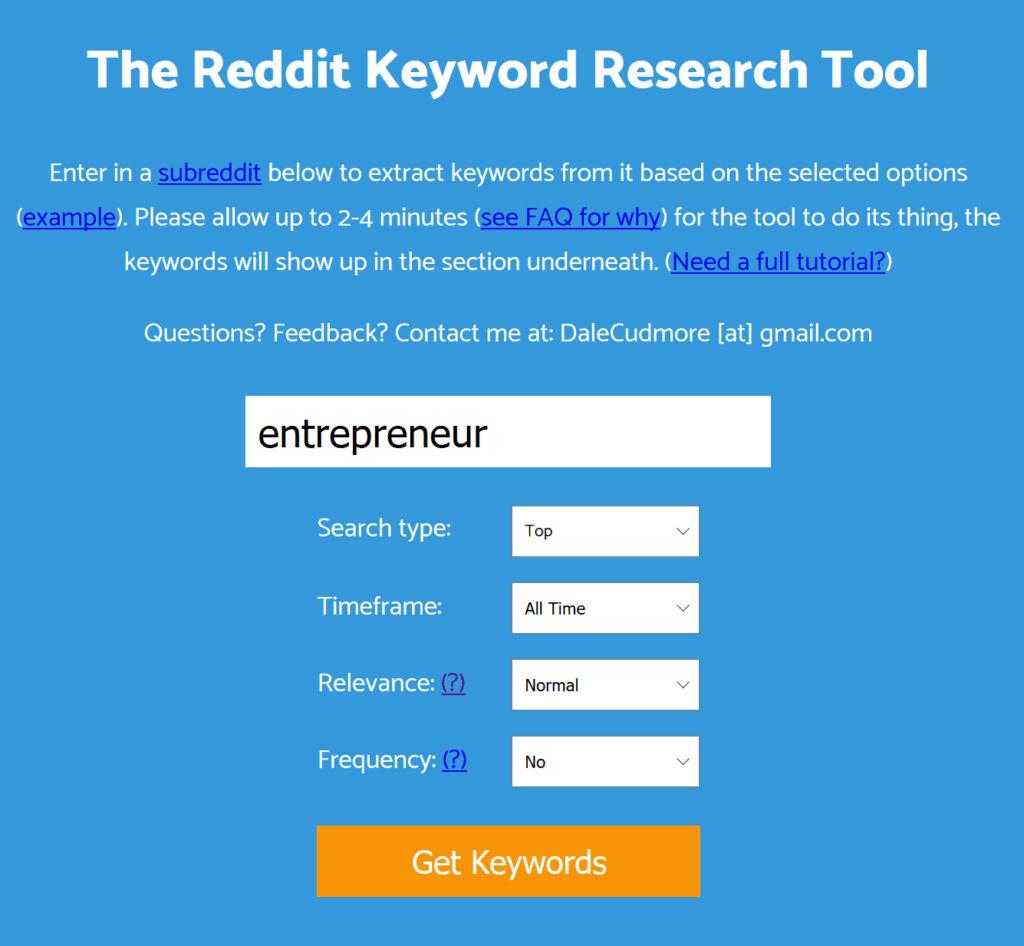Keyworddit Landing Page